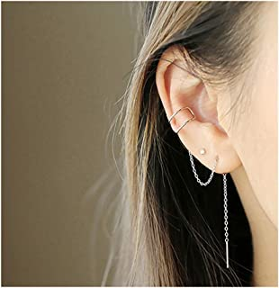 925 Sterling Silver Cuff Earrings Chain for Women Teen Girls Climber Earrings Wrap