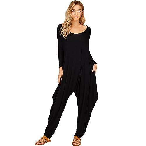 12c016959f60 Annabelle Women s Solid Harem Pant Long Sleeve Pocket Romper Jumpsuit