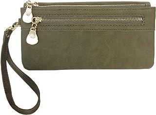 Women's Wristlet Wallet FanCarry PU Leather Clutch Purse Card Organizer w/Front Zipper Pockets