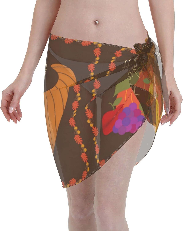 Bei Tang Women Short Sarongs Beach Wrap,Women's Happy Thanksgiving with Cornucopia Sheer Bikini Wraps Chiffon Cover Ups for