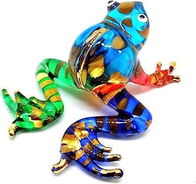 Black /& White Handmade Hand Blown Art Glass Reptile Figure 2.5 Glass Snake Animal Figurine
