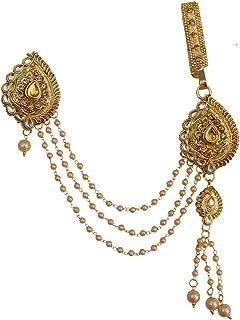 Taj Pearl Golden Non-Precious Metal Traditional Half Kamar Bandh for Women