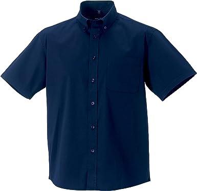 Russell Collection - Camisa Clasica de Manga Corta Modelo Classic Twill Hombre Caballero - Trabajo/Fiesta/Verano