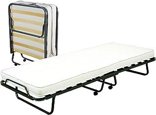 Cortassa - Cama plegable con colchón de poliuretano de 10 cm de altura, estructura de somier individual de láminas de madera de 90 x 200 cm, cama ahorra espacio con ruedas
