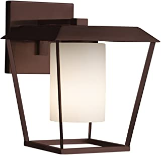 Fusion - Patina Large 1-Light Outdoor Wall Sconce - Cylinder with Flat Rim Artisan Glass Shade in Opal - Dark Bronze Finish - LED