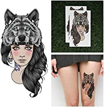 Tattify Wolf Headdress Temporary Tattoo - Leader of the Pack (Set of 2) - Other Styles Available - Fashionable Temporary Tattoos