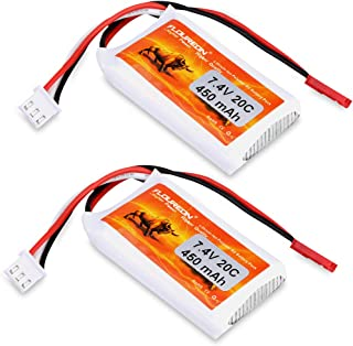 FLOUREON 2S 7.4V Lipo Battery 450mAh 20C Lipo Batteries with JST Plug for RC Car Truck Truggy Airplane Quadcopter UAV Drone FPV (2pack)