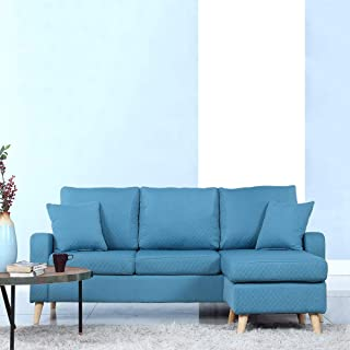 DIVANO ROMA FURNITURE Mid Century Modern Linen Fabric Small Space Sectional Sofa with Reversible Chaise (Sky Blue)