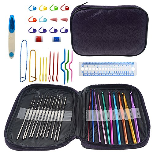 BlueBeach® 49 Pezzi Uncinetti Set di Ganci di Crochet Set con 22 Taglie Aghi di Uncinetto e 27 Accessori - Kit Cucito con Custodia in Pelle