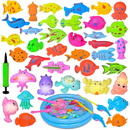 Fun Little Toys 42PCs Magnetic Fishing Toys with 11 in Fishing Pool, 2 Fishing Rodes, 29 Fishes and 7 Sea Animals with Light, Toddler Bath Toys, Water Toys Fishing Game for Kids