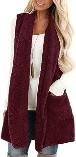 ReachMe Womens Sleeveless Sherpa Vest with Pockets Open Front Fleece Jacket Coat Cardigan Sweaters