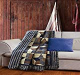 Quilted Throw Blanket by Virah Bella - 50' x 60' Woodland Star Blue Lightweight Throw Quilt Great for Loungers & Extra Bedding - Beautiful Lodge-Themed Blanket