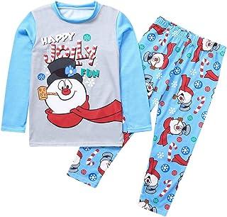 Fossen Kids Pijamas Navideños Familiares con Estampado de Muñeco de Nieve, Conjunto de Pijama Navideño Familia Invierno, T...