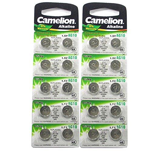 Camelion Lot de 20 piles bouton AG10 LR54 389 GP62A SR1130W