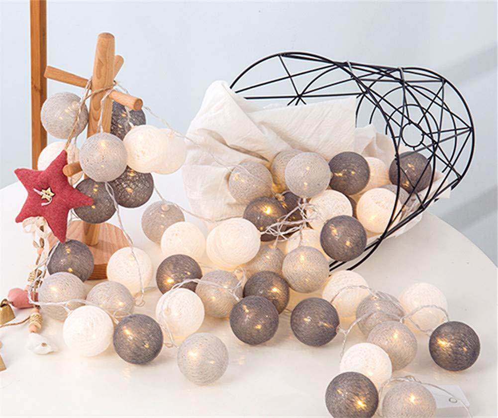 Guirnalda de luces LED con bolas de algodón de 3 m, 20 unidades, con pilas, decoración para fiestas, salón, jardín, Navidad, bodas, gris, 3m: Amazon.es: Iluminación