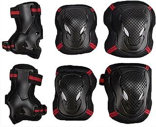 EONPOW Juego de Protecciones, Protecciones contra caídas para Patinaje en línea, para muñeca, Codo, Rodilleras, Protector para Deportes, Ciclismo, Patinaje, 6 Unidades