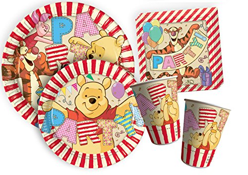 Ciao y4381 Kit Party-Winnie The Pooh Alphabet für 24 Personen, Beige/Rot