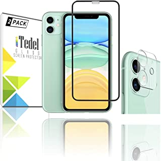 iTedel 9H 2.5D Rounded Screen Protector for iPhone 11 High Definition Anti Scratch and 9H 3D Camera Lens Protector for iPh...