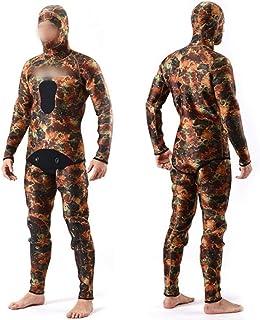 YIJUPIN ダイビングスーツ狩猟ダイビング迷彩狩猟魚スーツ分割迷彩撮影魚ウェットスーツウェット服5ミリメートル (色 : Camouflage, サイズ : XXL)