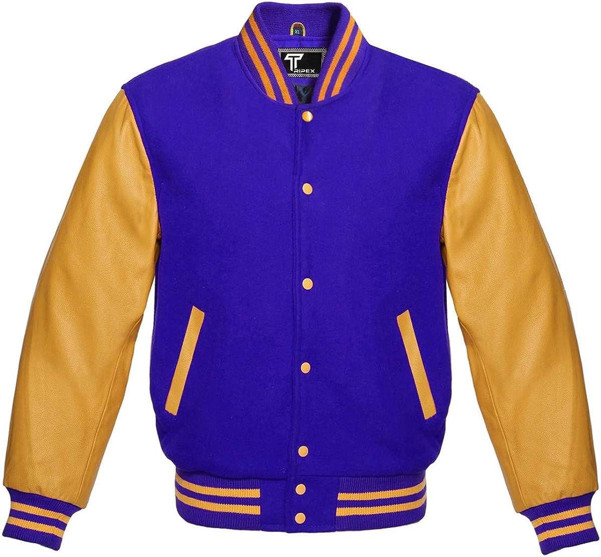 TRIPEX Letterman Baseball School College Bomber Varsity Jacket Wool Blend & Genuine Leather Sleeves