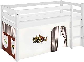 Lilokids Lit Mezzanine JELLE Dinos-Marron -lit d'enfant Blanc - avec Rideau - lit 90x190 cm