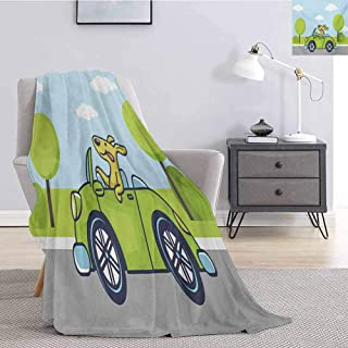 Luoiaax Dog Driver Children's Blanket Puppy on The Road Car Jack Russell Journey Terrier Speed Race Cartoon Lightweight Soft Warm and Comfortable W80 x L60 Inch Baby Blue Lime Green
