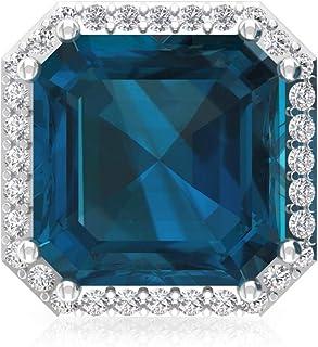 4.2 Ct Blue Topaz London Stud Earring, Asscher Shape Gemstone Statement Earring, IGI Certified Diamond Wedding Earring, IJ-SI Diamond Bridal Earring, Screw Back