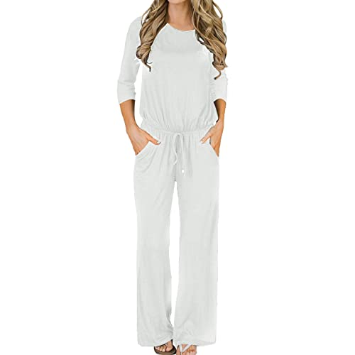 aef2a71f156 MIHOLL Women s Loose Jumpsuit Casual 3 4 Sleeve Wide Legs Long Jumpsuit  Rompers