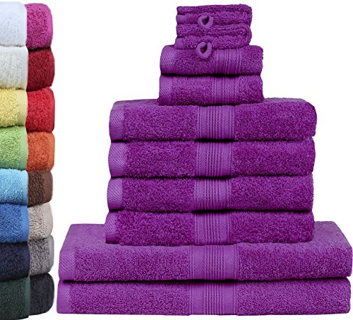 GREEN MARK Textilien 10 TLG. FROTTIER Handtuch-Set mit verschiedenen Größen 4X Handtücher, 2X Duschtücher, 2X Gästetücher, 2X Waschhandschuhe | Farbe: Lila | Premium Qualität