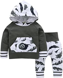 Angelchild Baby Boy Long Sleeve Hooded Top Printed Cartoon Pant Cute Outfit Set