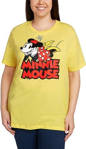 Disney Wohommes Plus Taille T-Shirt Minnie Mouse Print (Heather jaune, 1X)