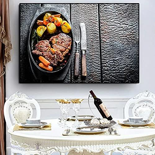 YYBFQZ Lienzo artístico asado carne y verduras cuchillo y tenedor cocina lienzo pintura granos especias pimientos pintura carteles e impresión pared arte comida imagen salón