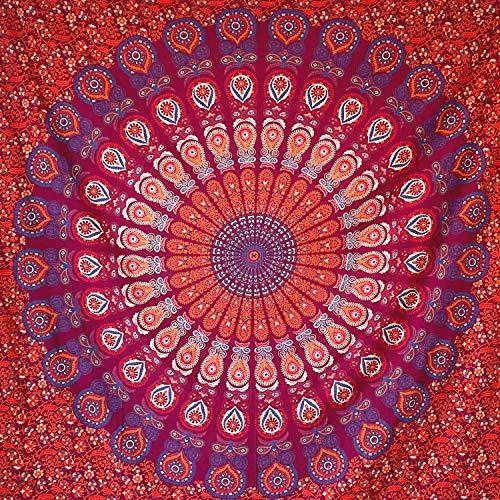 Momomus Tapiz de Mandala - Hecho a Mano con Algodón 100% y Tintes Vegetales Naturales - Adornos de Arte para Pared de Hogar, Pareo/Toalla de Playa Grande, Sofá - Rojo C, 210x230 cm