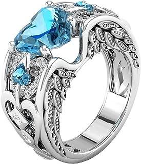 Schmuck Damen-Ring, Dragon868 Silber natürliche Rubin Edelsteine Birthstone Braut Hochzeit Engagement Herz Ring 9, Hellblau