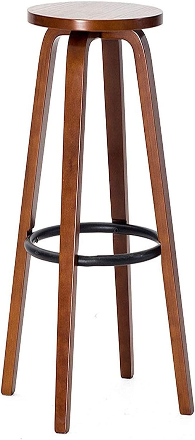 Stool Bar Stool Modern Solid Wood Round Table Bar Chair Home Kitchen Cabinet Cafe 27 Inch Iron +