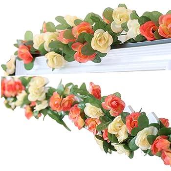 LumenTY 2 Paquetes 2.5 m Artificial Flor Vid Flores Artificiales Rosas Seda Flor Falsa Decoración Hotel Oficina Jardín Familia Fiesta Boda Festival Artesanía Arte Decoración - Champán: Amazon.es: Hogar