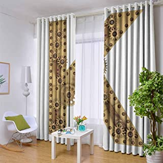 Letter K 100% blackout lining curtain Letter with Cyberpunk Industry Theme Design Cogwheels Brass in Vintage Style Image Full shading treatment kitchen insulation curtain W96 x L84 Inch Sand Brown