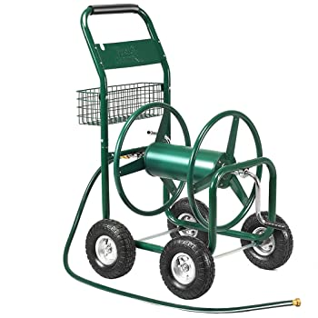 Green ALEKO/® GHRC400 Heavy Duty Hose Reel Cart Industrial 4 Wheel 400 Foot Hose Capacity Outdoor Yard Garden Landscape Hose Cart