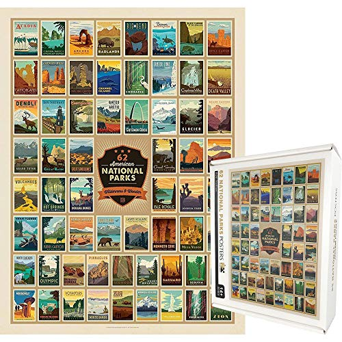 1000 Pieces Jigsaw Puzzles for Adults, Collect 62 American National Parks Stamps 1000 Pieces Puzzle, Large Funny Family Entertainment Game