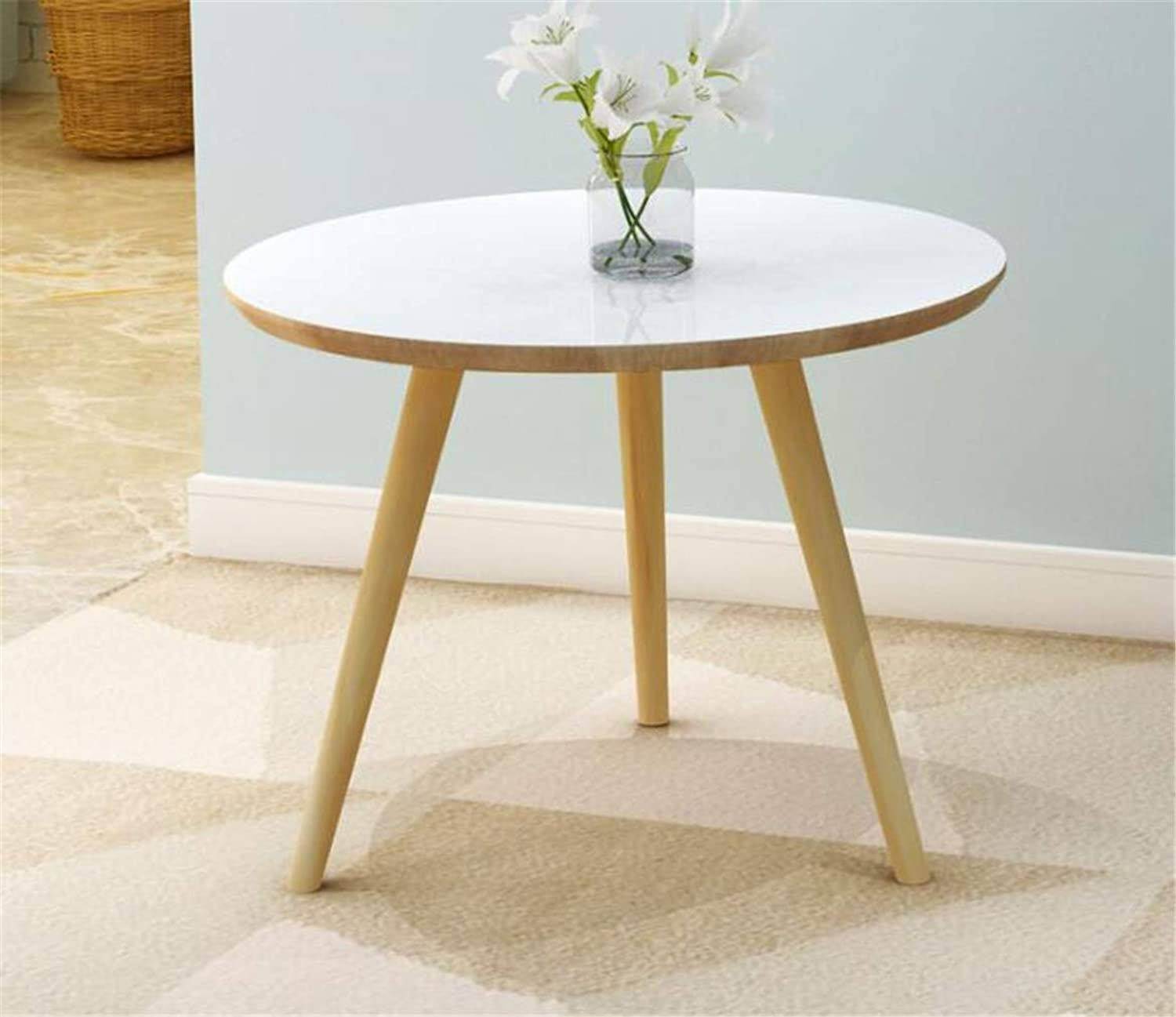 Small White Coffee Tables Living Room Round Table Solid Wood Legs + Painted Desktop 60x60x50.5cm