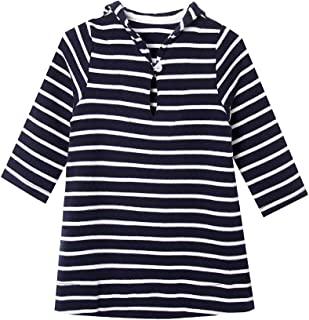 SMILING PINKER Baby Girl Dress Striped Cotton Casual Play Dresses with Sailor Collar