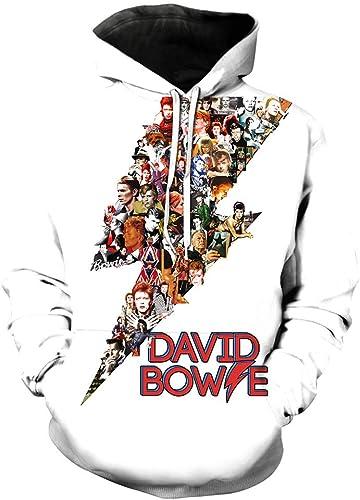 Imzoeyff Sweat à Capuche de Sport imprimé à Capuche pour Hommes David Bowie Pull à Capuche Mode Décontracté