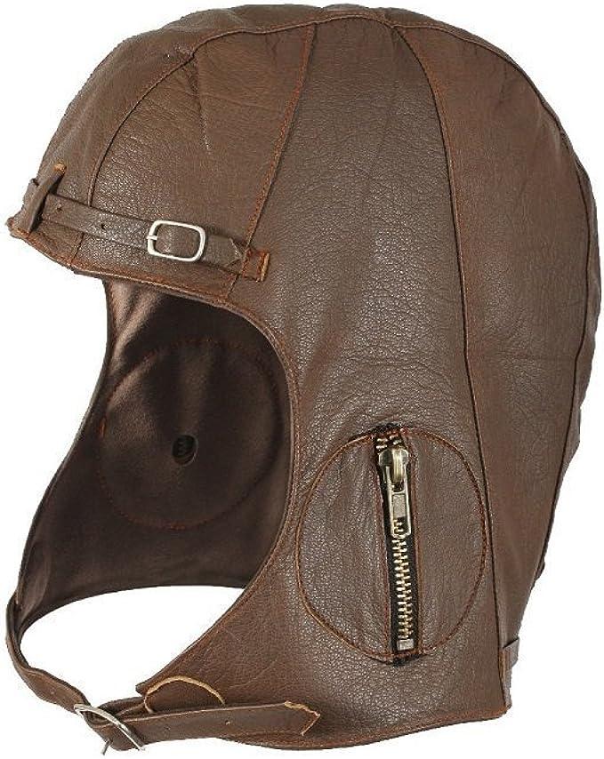 Steampunk Accessories | Goggles, Gears, Glasses, Guns, Mask Brown Leather Aviator Pilot Helmet Cap XL/2XL  AT vintagedancer.com