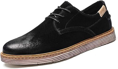 XHD-Chaussures Tenue de Ville Ville Classique pour Hommes d'affaires Oxford Décontracté Retro Brush chaussures (Couleur   Noir, Taille   42 EU)  rentable