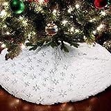 Arbol De Navidad Falda,Blanca Sintética Piel Arbol De Navidad Falda Base Cubierta,con Plateado Nieve Copo,para Navideña Hogar Decoración,90cm