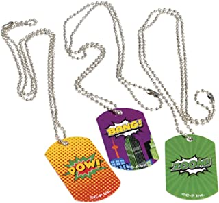 U.S. Toy Lot of 12 Assorted Metal Super Hero Comic Book Theme Dog Tags