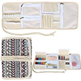 Teamoy Crochet Hook Case, Roll Bag Holder Organizer for Various Crochet Needles and Knitting Accessories, Compact and All-in-one, Bohemian