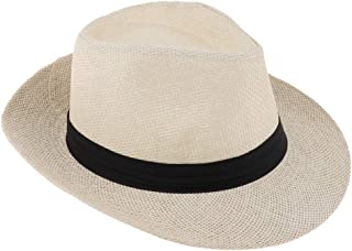 IPOTCH Mens Womens Travel Summer Straw Sun Hat Fedora Trilby Gangster Cap Beach Hat Sombrero