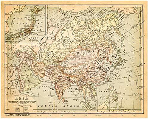 N/A Puzzel 1000 Stukjes Oude Kaart Van Azië Volwassen Houten Puzzel Mooi Cadeau Educatief Spel Kinderen Intellectuele Uitdaging Puzzel