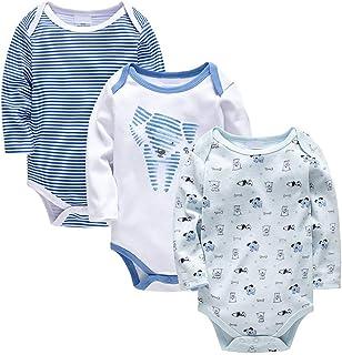 Bebé Body Pack de 3 - Mono Niños Mameluco Manga Larga para Niñas Pijama Trajes de Invierno Algodón Pelele Ropa